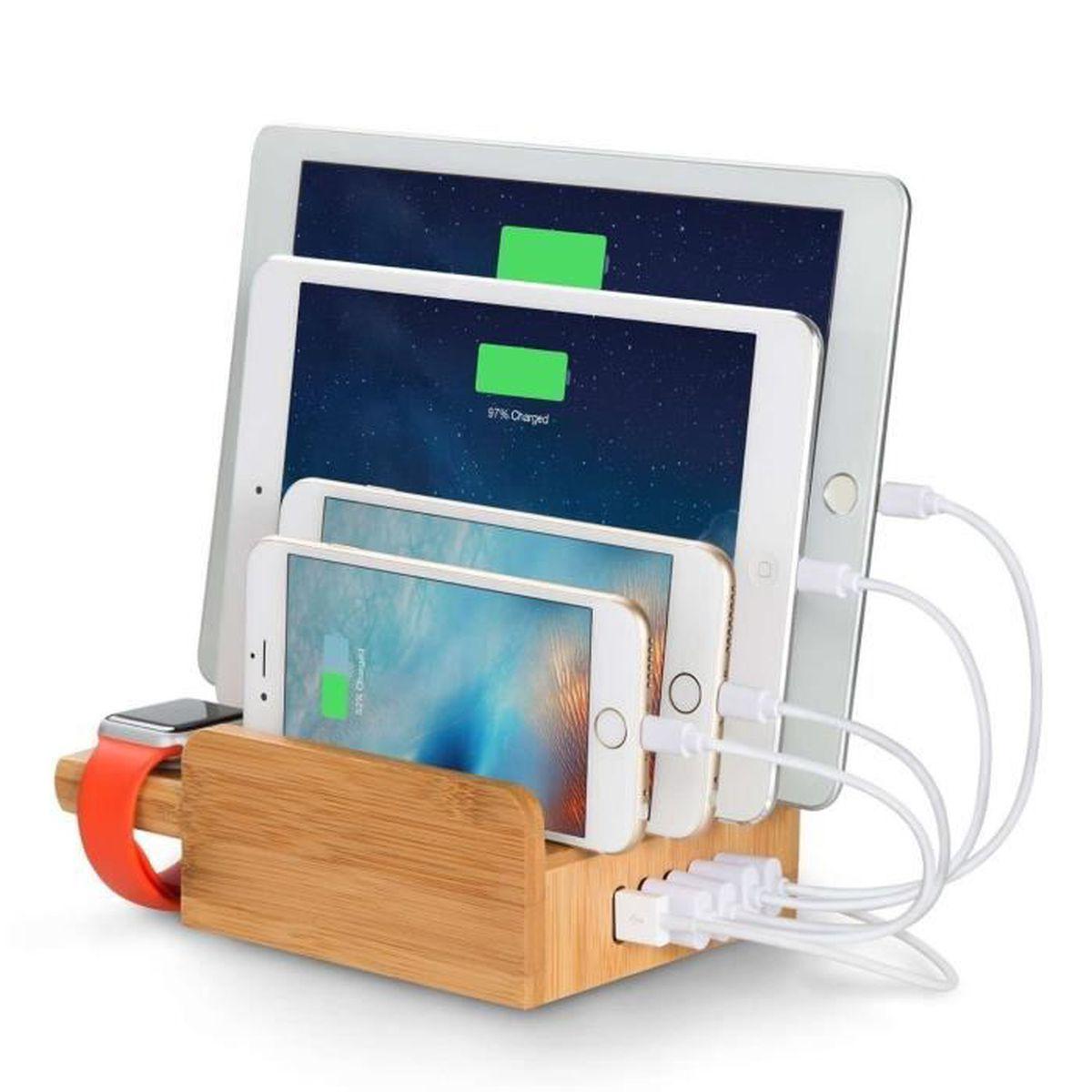 upow station de recharge 5 ports usb en bamboo multi. Black Bedroom Furniture Sets. Home Design Ideas