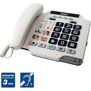 Téléphone fixe TELEPHONE FIXE SENIOR CLAVIER GROSSES TOUCHES PHOT
