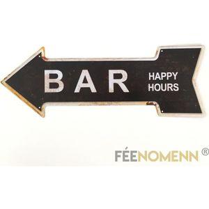 OBJET DÉCORATION MURALE Plaque Métal Déco Vintage - Bar Happy Hours (16x45