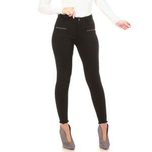 c178c3ef30c8 Pantalon noir destroy aux chevilles et zips décoratifs-XS Noir Noir ...