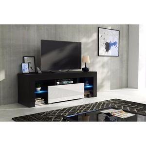 MEUBLE TV Meuble tv 130 cm corps noir  mat et porte laquée b
