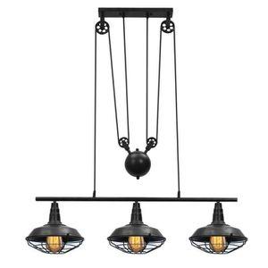 LUSTRE ET SUSPENSION Vintage Edison suspension industrielle Poulie Régl