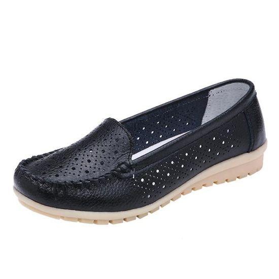 Femmes Appartements Chaussures En Cuir Véritable Chaussures Mocassins Découpés Slip Sur Baller Appartements Chaussures   Noir Noir - Achat / Vente slip-on