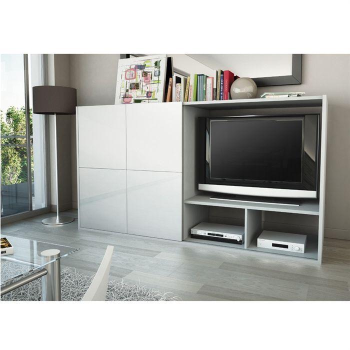 Samos Meuble Tv Mural 203 Cm Blanc Achat Vente Meuble Tv Samos Meuble Tv Mural Panneaux De