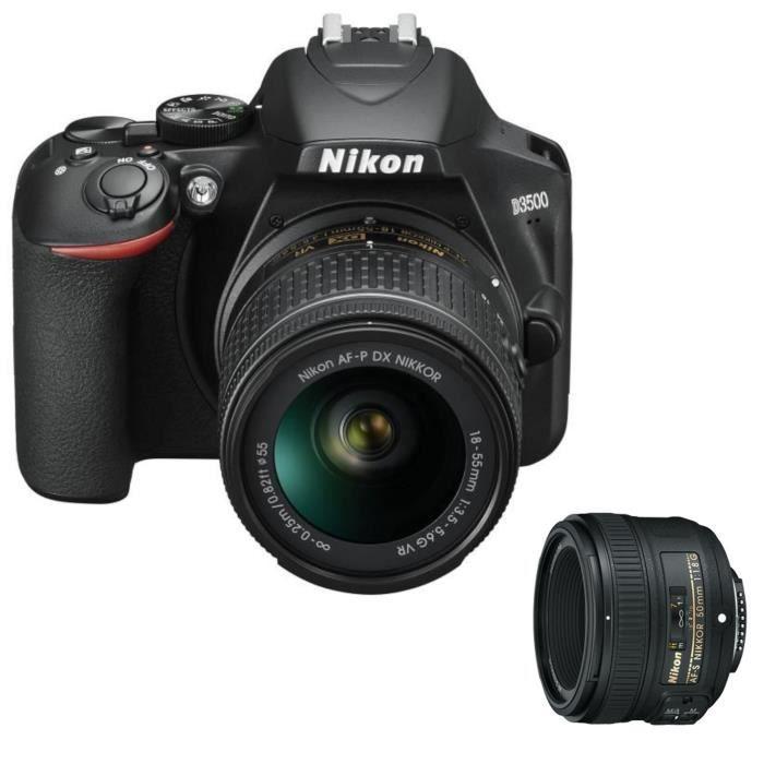 NIKON D3500 Appareil photo Reflex + Objectif AF-P DX 18-55 VR - 24.2Mp DX, vidéo FullHD + AF-S NIKKOR 50mm f/1,8 G Objectif