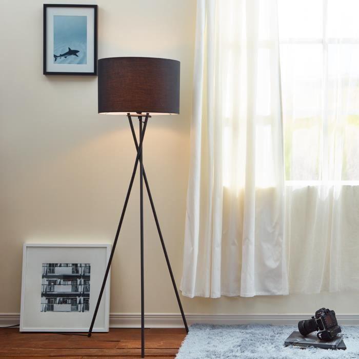 LAMPADAIRE Lampadaire trépied métal avec abat-jour noir Versa