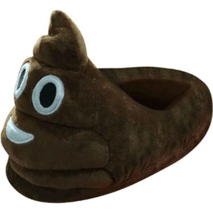 #13 une paire de chaussons pantoufles chaussures amusantes pour maison domestique Expression Imoji caca drôle rit marron