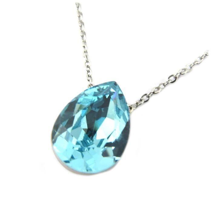 Collier artisanal acier Bohème turquoise aquamarine argenté - 14x10 mm [P6782]
