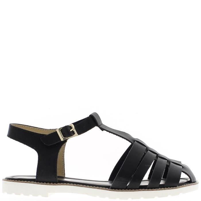 Sandales noires à petit talon de 1cm semelle blanche jIcJA