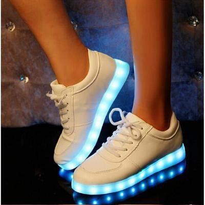 Colore Lueur Plat Usb Chaussure Led La Lumire Lumineuse Amoureux Chaussures Unisexe Chausse Femmes Rechargeable Pour qEx75awU