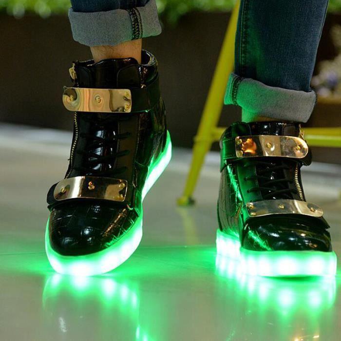 Baskets LED Lumière Clignotante Haut-top Chaussures KIANII® Noir