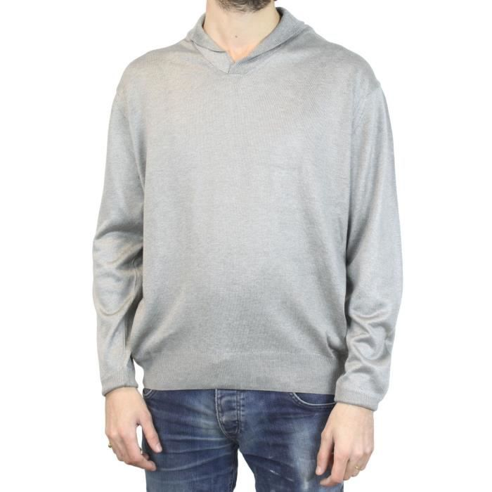 Pull Merinos Col Chale Gris Gris - Achat   Vente pull - Cdiscount 35732b71cce6