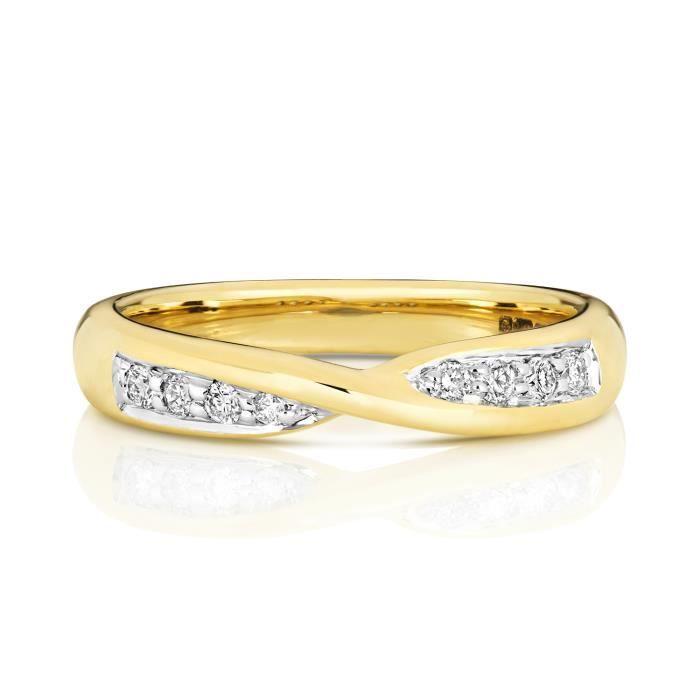 Bague de Mariage-Alliance Femme 3,6mm Or 375-1000 et Diamant Brillant 0.14 Carat GH - SI3-I1