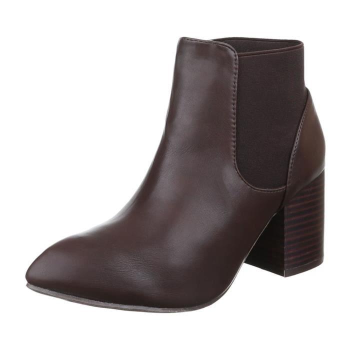 Femme chaussures bottillon Stretch bottes noir 38
