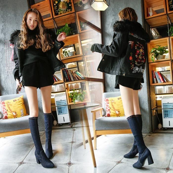Chaussures de mode pour femmes minces talons hauts bottes bout pointu bottes de combat @BK 0mEiHQiJIK
