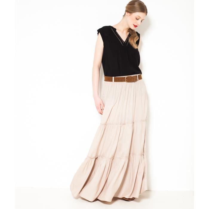 97876ad7b4e Camaïeu - Longue jupe femme effet jupon - FALINETTE FICELLE Ficelle ...