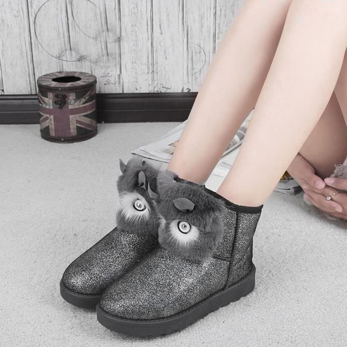 Femmes Occasionnel Neige Lady gris gg Bottes Cheville Mode Hiver Chaud Chaussures OIqdwgO4x