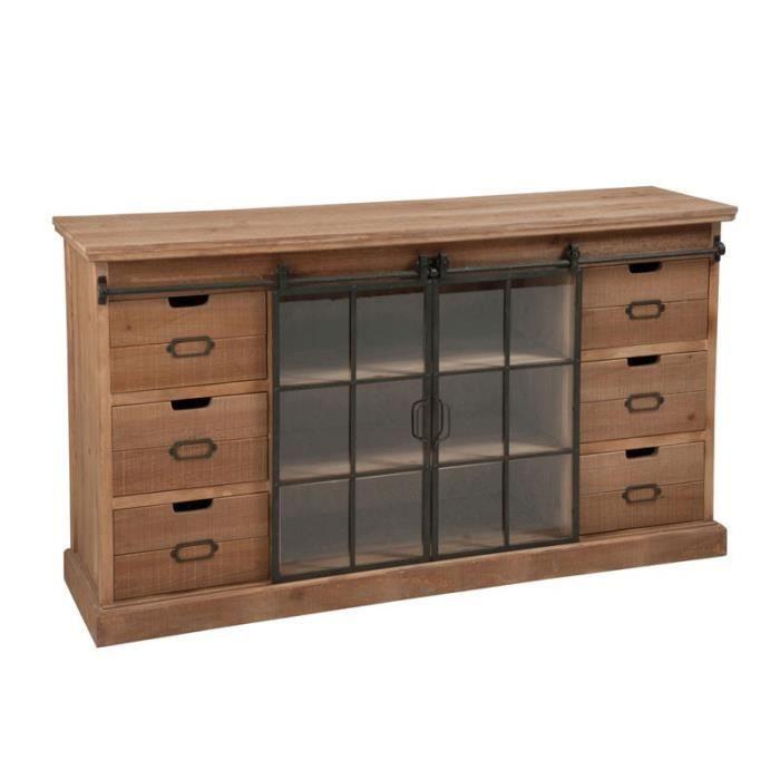 buffet bois/métal 6 tiroirs 2 portes en verre - exoti - l 148 x l 39