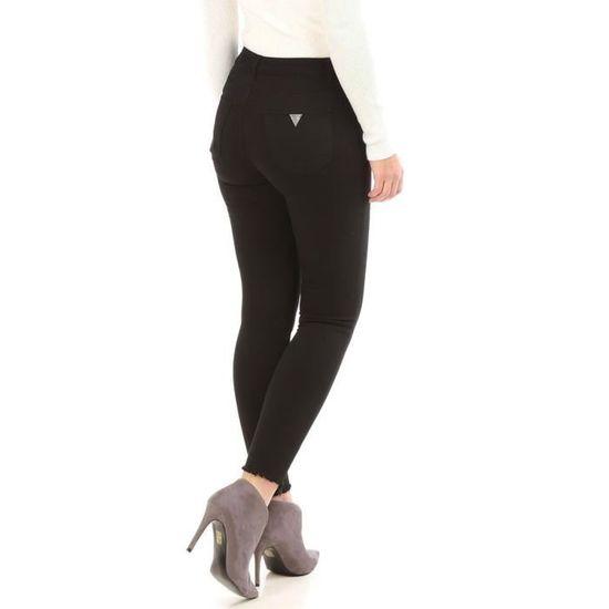 9192c07f5773 Pantalon noir destroy aux chevilles et zips décoratifs-XS Noir Noir - Achat    Vente pantalon - Cdiscount