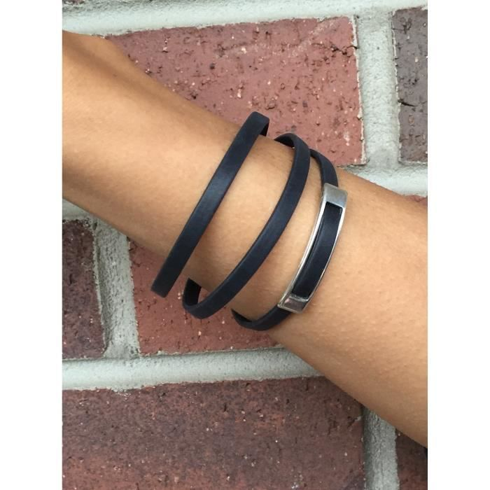 Cuir noir de femmes et dargent Minimaliste Triple Bracelet Wrap ORK8Z