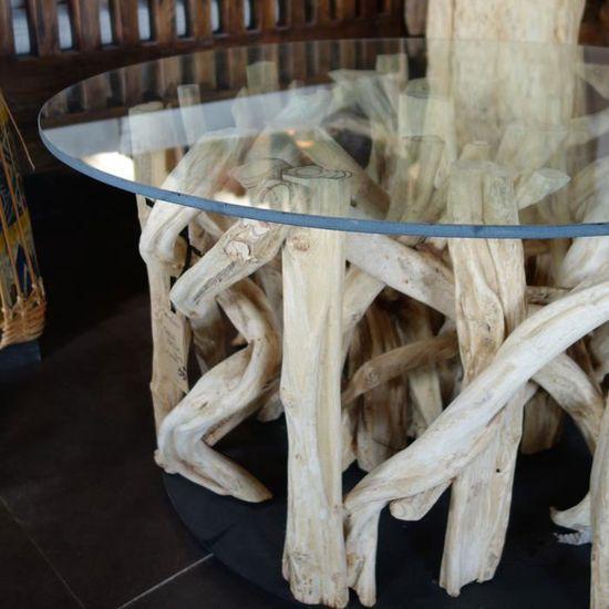 Table Basse Ronde En Verre Et Bois Flotte Achat Vente Table