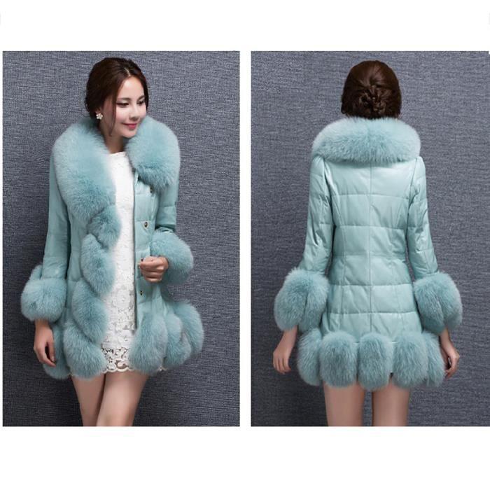 En vêtement Longue Bas bleu Élégante Le Doudoune Fourrure Splice Chaud Vers Manteau Fausse Veste Femmes vwgF8qE