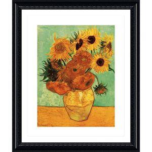 TABLEAU - TOILE Sunflowers Tournesols Vincent Van Gogh Black POSTE