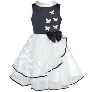 98d785ce6f01c ROBE Sunny Fashion Robe Fille Fleur Blanc Et Noir Papil