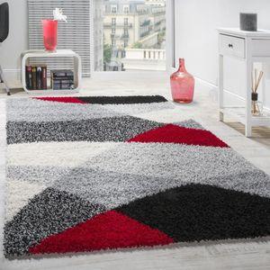 TAPIS Shaggy Motifs Gris Noir Rouge [140x200 cm]