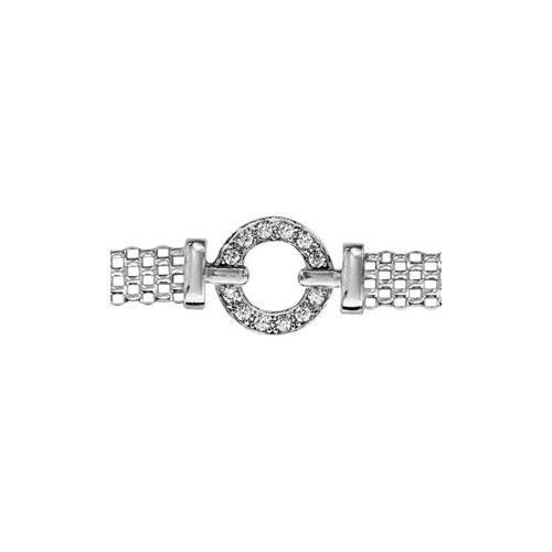 Bracelet argent rhodié maille milanaise cercle oxy