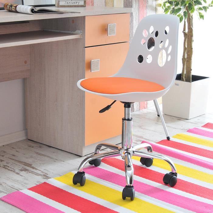 Design Chaise 40 Pêche De Blanc Fauteuil Bureau Cm Réglable Foot D'enfant Moderne Pivotant Nvmnw80O