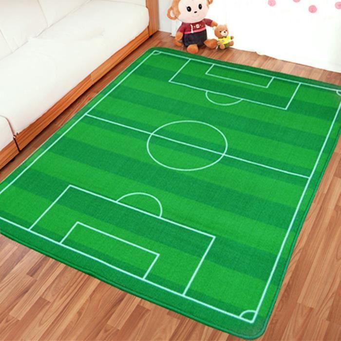 tapis de jeu terrain de football tapis chambre enfant vert 130cm x 180cm achat vente tapis. Black Bedroom Furniture Sets. Home Design Ideas
