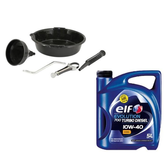 kit outillage vidange elf 10w40 turbo diesel 5l achat vente huile moteur pack kit vidange. Black Bedroom Furniture Sets. Home Design Ideas