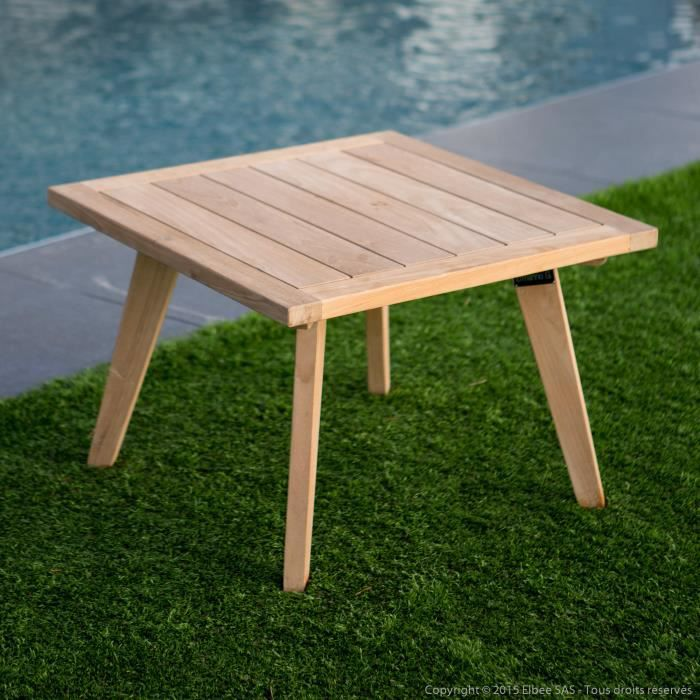 Table basse de jardin en teck brut 60x60cm ETHNIKA- - Achat / Vente ...
