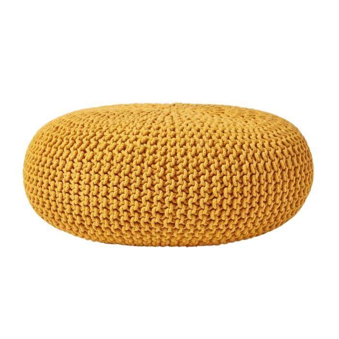 pouf jaune achat vente pouf jaune pas cher soldes. Black Bedroom Furniture Sets. Home Design Ideas