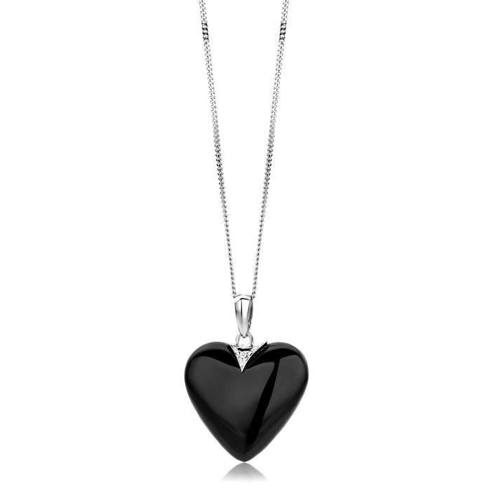 Miore 9 Ct or blanc et diamant noir Agat Pendentif Coeur sur 45 cm chaîne 1Z8P0R