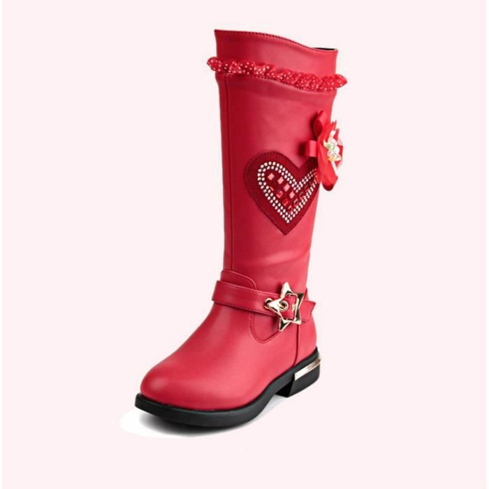 2017 automne et hiver filles chaud imperméable Martin bottes bottes hautes chaussures princesse
