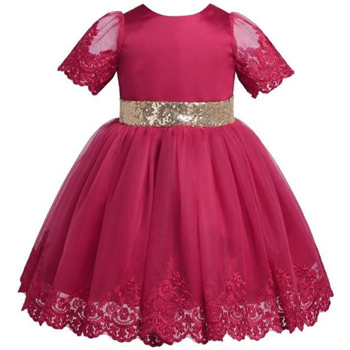 3657f2573ce0f Robe Bébé Fille jolie danse robe fête Princesse 3-24 Mois manches courtes  ceinture pailletée