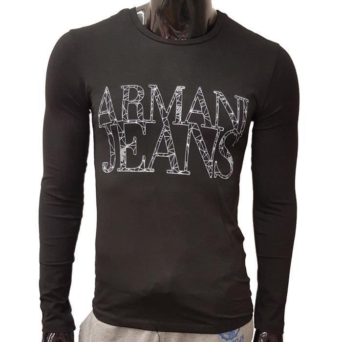 2ca11fddbf9e T-Shirt Armani Jeans Manches longues pour hommes. B6H47 noir. Noir ...