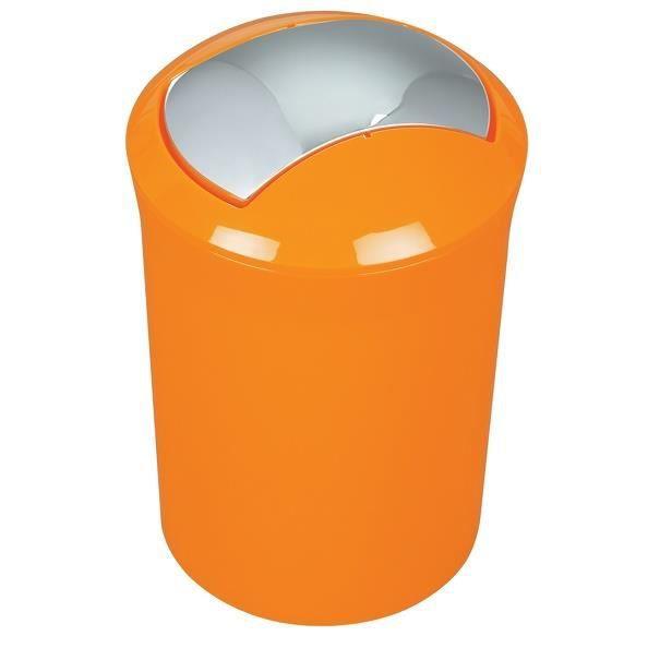 SYDNEY Poubelle 5L Salle De Bain   Couvercle Basculant 30x19x19cm Orange