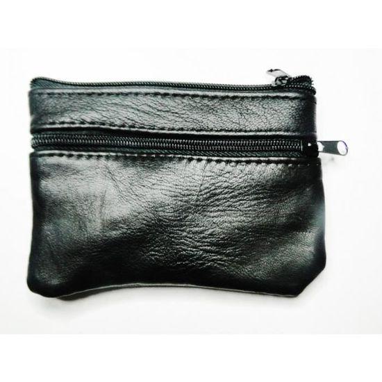 grande remise pour fréquent le moins cher Porte-monnaie bourse cuir véritable noir 4 poches zippé et bouton pression