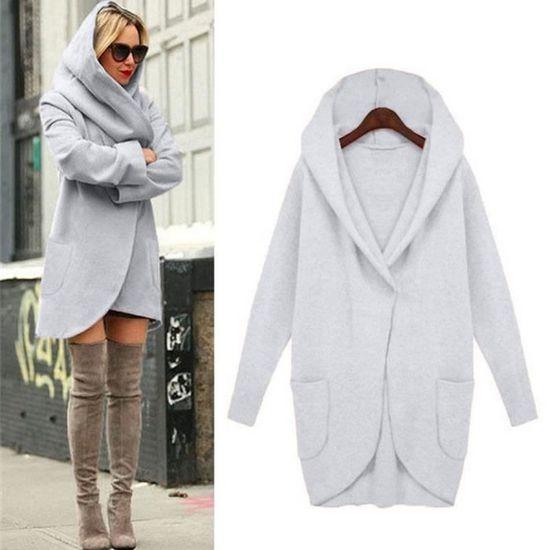 À gris Femmes Top Woollen Pardessus Loose Jacket Casual Capuchon Mince Dames Manteau Hoodies qqBrw6E7n