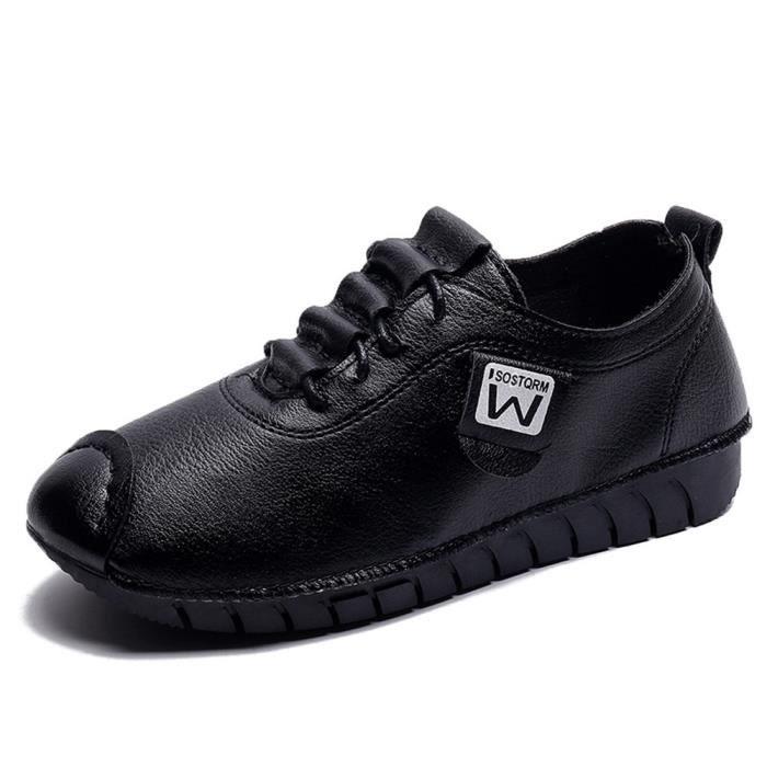 Femmes Mocassins Sport Chaussures En Mode Flat Pour Noir De On Slip Dames Cuir Exg1wZYqg