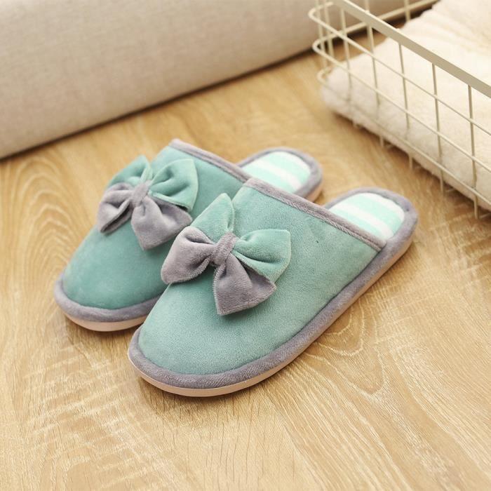 Bow Tie Pantoufles d'intérieur pour femmes Accueil Anti-Slip Hiver Chaud Chaussures Chaudes Chaudvert XKO345 JDClJr3sD3