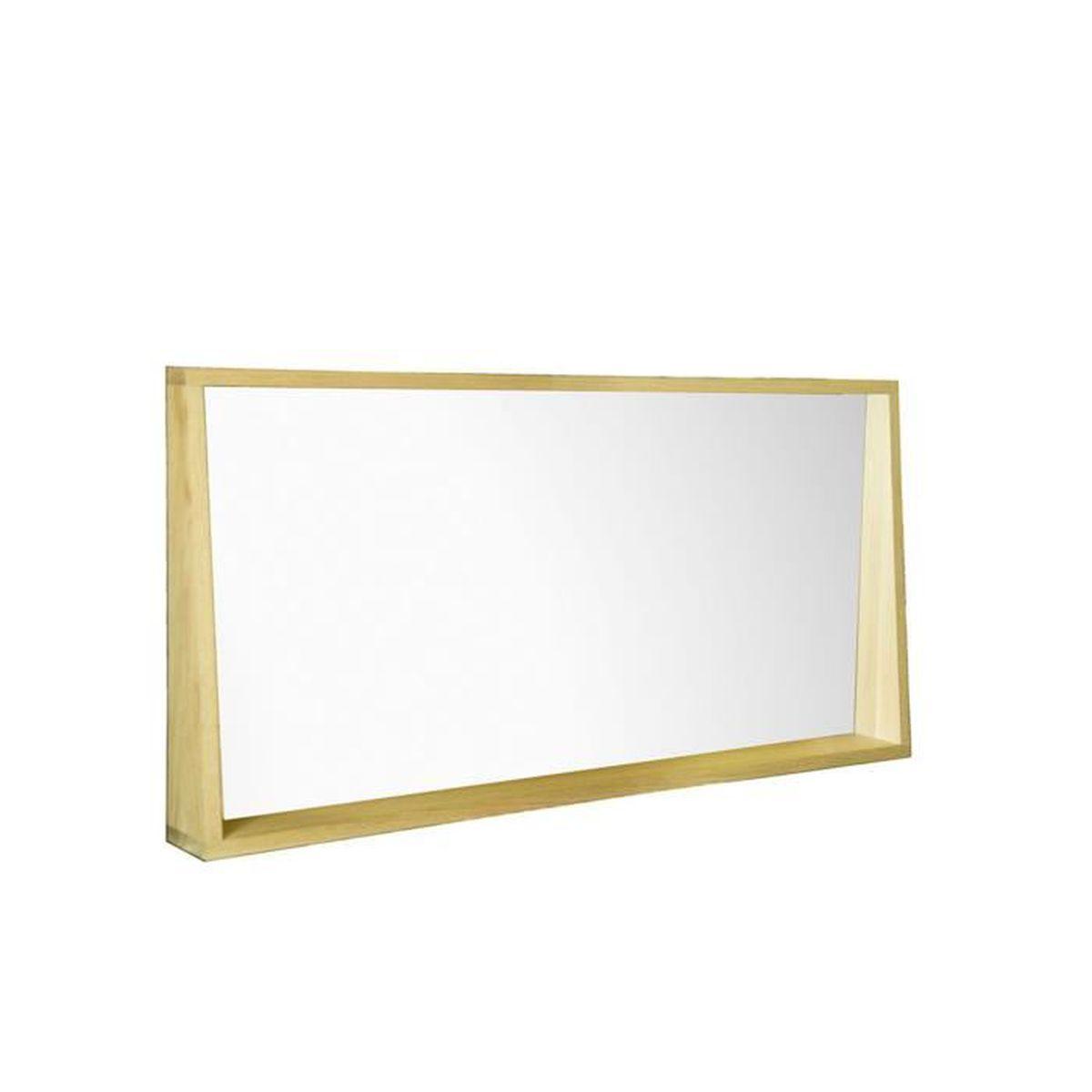 Native Miroir rectangulaire de salle de bains L120cm en chêne ...