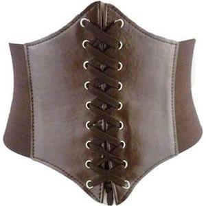 BUSTIER - CORSET Serre taille marron steampunk à lacet et scratch,