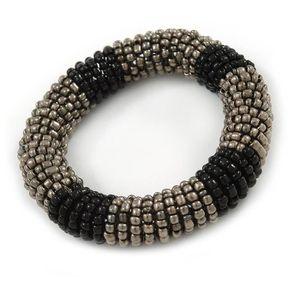 Verre à cocktail Noir-gris Rouleau de perles de verre Bracelet exte