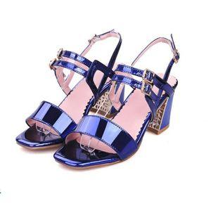 Chaussures Style Cuir Sandales Femme Fermeture Été Casual Verni QCBWordxe