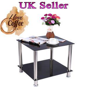 TABLE BASSE Table basse Table de café en verre acier inoxydabl