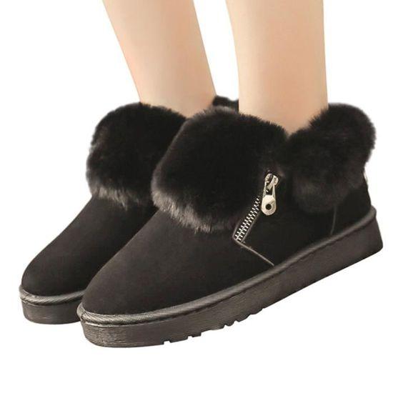 f48924466e7943 Neige Métal Hiver Cheville Peluche D'hiver Xym80905906bk36 Garder Bottes  Zipper Chaud Hotskynie®bottes En Noir Chaussures TAqgZWvAI1
